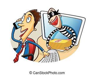 documento, caricatura, roubo