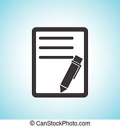 documento, com, pen/paper, ícone