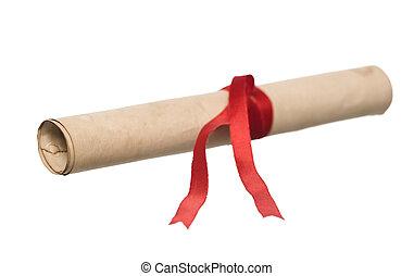 documento, con, cinta roja, aislado
