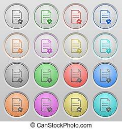 documento, configurar, plástico, afundado, botões