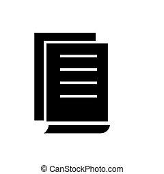 documento, contratos, ícone, vetorial, ilustração, pretas, sinal, ligado, isolado, fundo