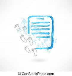 documento, e, pegadas, grunge, ícone