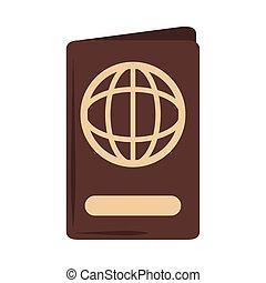documento, estilo, icono, verano, identificación, viaje, vacaciones, pasaporte, plano