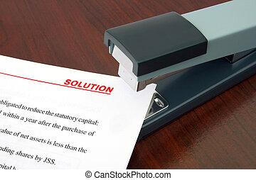 documento, grapadora, solución, oficina