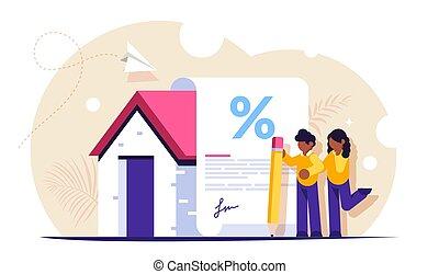 documento, hipoteca, forma, compra, família, isoalted, novo, home., vetorial, illustration., interesse, bank., sinais, empréstimo, favorável, jovem, concept.