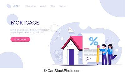 documento, hipoteca, forma, compra, teia, família, novo, home., template., aterragem, interesse, bank., sinais, empréstimo, favorável, página, jovem, concept.