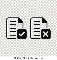 documento, icona, appartamento, marchio, vettore, bianco, messaggio, illustrazione, assegno, style., scarto, fondo., accettare, isolato, affari, concept.