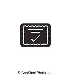 documento, icona, approvare, appartamento, marchio, certificato, vettore, bianco, approvazione, illustrazione, assegno, style., scelta, fondo., isolato, affari, concept.