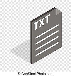 documento, icona, file, formato, isometrico, txt