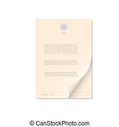 documento, isolado, branco