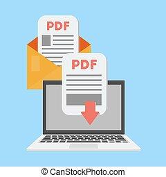 documento, laptop, pdf, message., scaricare, vettore, ricevere, concept.