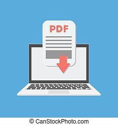 documento, laptop, pdf, scaricare, vettore, concept.