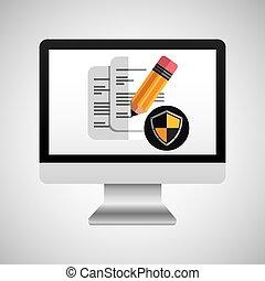 documento, linea, protezione, digitale