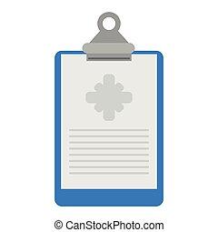 documento médico, área de transferência