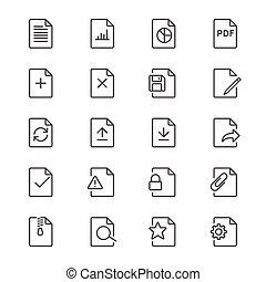 documento, magra, ícones