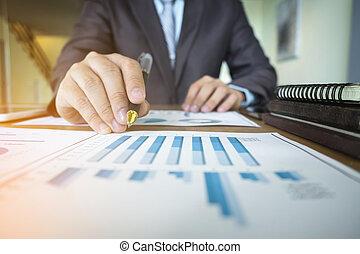 documento, negócio, trabalhando, concept., estratégia, plano, homem negócios, novo, mão