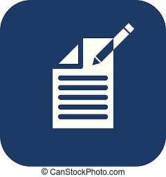 documento, redigere, button., segno, contenuto, fondo., icon., sfocato, icona