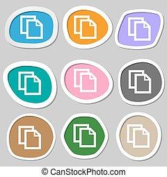 documento, redigere, segno, contenuto, vettore, carta, button.., icon., stickers., variopinto