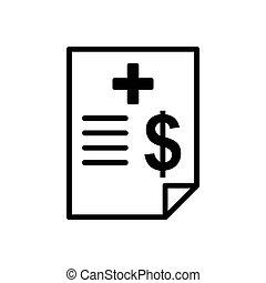 documento, sagoma, fatturazione, -, vettore, disegno, icona