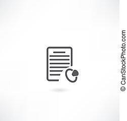 documento, signet, ícone