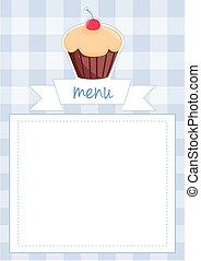 documento, vettore, cupcake