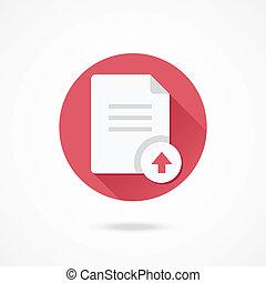 documento, vettore, upload, icona
