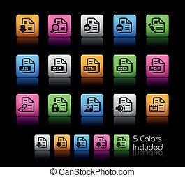 documentos, ícones, -, 1, //, cor, caixa
