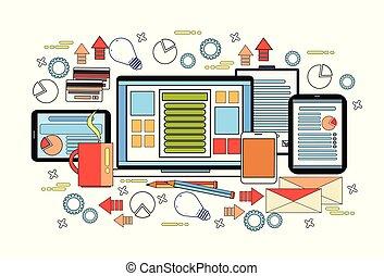 documentos, conceito negócio, laptop, trabalho, computador desktop, local trabalho, escrivaninha, tabuletas, digital, diagramas