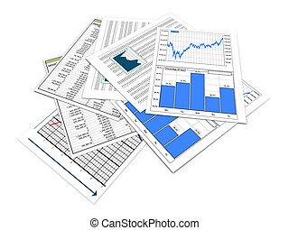 documentos, financiero, 3d