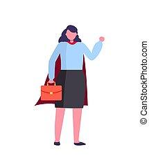 documentos, héroe, maletín, mujer de negocios
