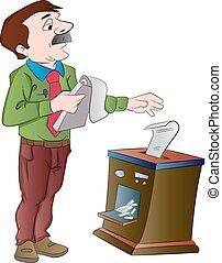 documentos, hacer trizas, ilustración, hombre