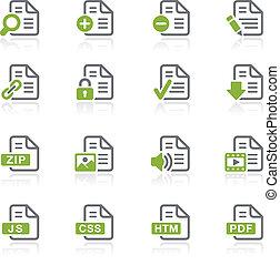 documentos, iconos, serie, -, 1, natura