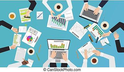 documentos, meeting., escritório negócio, brainstorming, concept., trabalho, laptops, vetorial, vista, mãos, escrivaninha, equipe, topo, illustration.