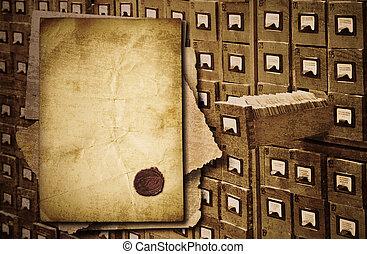 documentos, montón, plano de fondo, viejo, gabinete, encima...