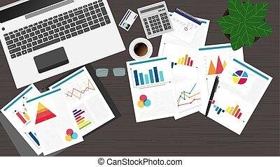 documentos, notebook., escritório, topo, local trabalho, materiais, gráficos, vista
