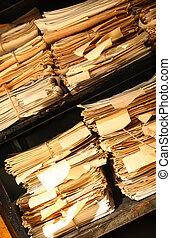 documentos, papel, apilado, archivo