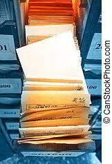 documentos, papel, empilhado, arquivo