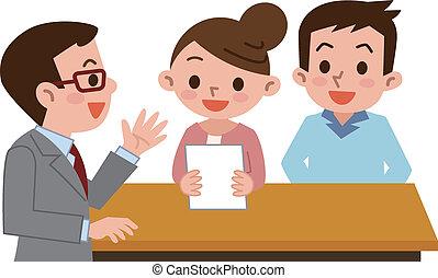 documentos, pareja, someter