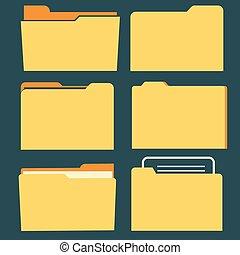 documentos, pasta, ícone, set., documento negócio, conceito