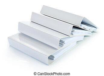 documentos, pila, carpeta