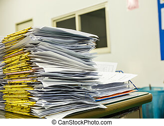 documentos, pila, escritorio