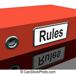 documentos, reglas, o, archivo, política, guía