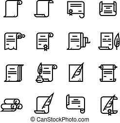 documentos, rollosde papel, simple, diploma, icons., símbolos, vector, papel, antiguo