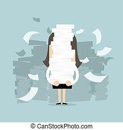 documentos, segurando, dela, executiva, lote, hands.