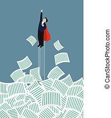 documentos, superhero, quitar, terreno, hombre de negocios