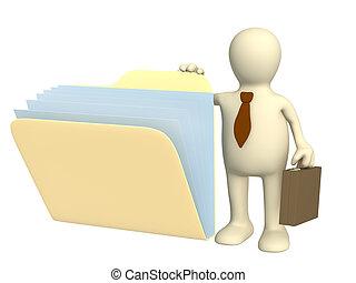 documentos, títere, 3d, carpeta, apertura