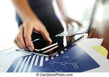 documentos, trabajando, tableta, oficina, teléfono del negocio, plano de fondo, digital, tabla, elegante, hombre