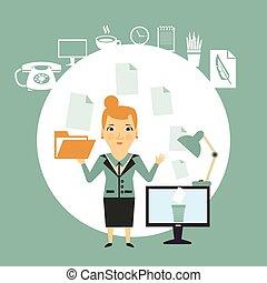documentos, trabalhando, ilustração, secretária