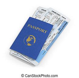 documentos, viaje, fondo., línea aérea, pasaporte, blanco, ...