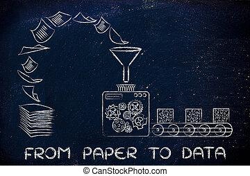 documentos, vuelta, fábrica, papel,  data:, organizado, datos, Máquinas